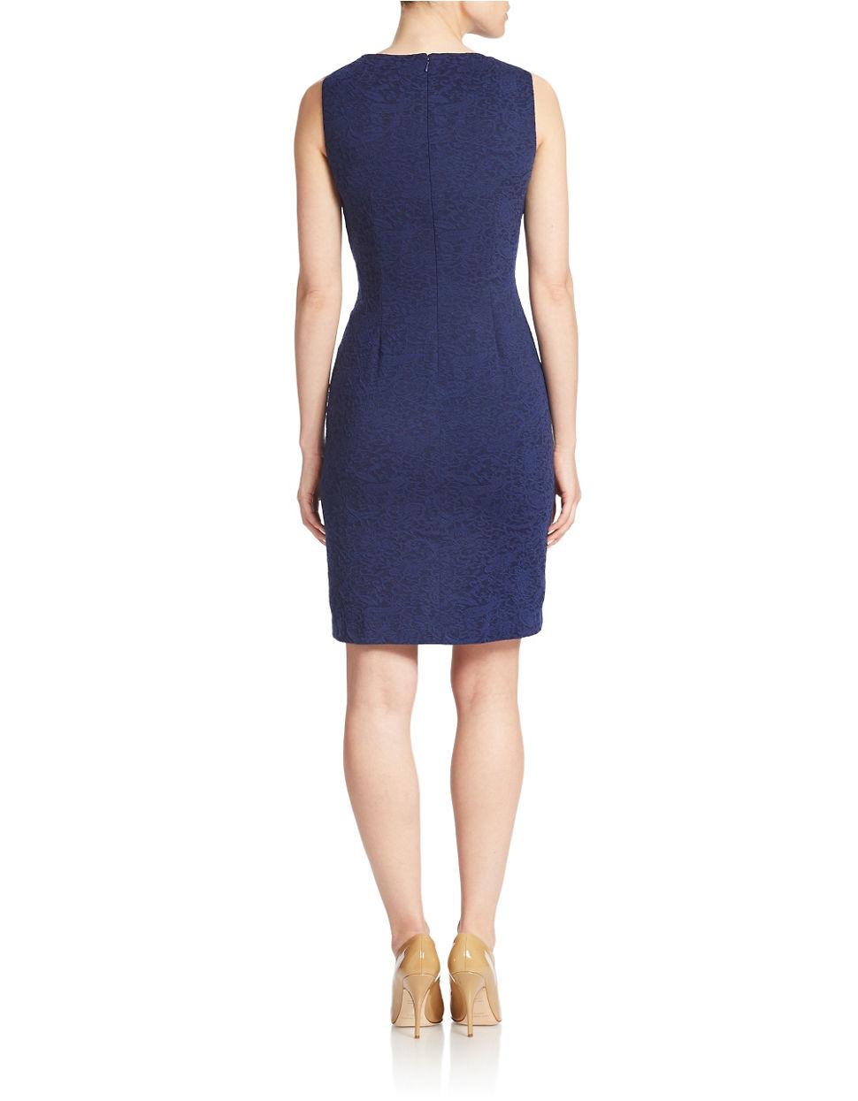 Ivanka Trump Pleated Detail Sheath Dress In Blue Lyst