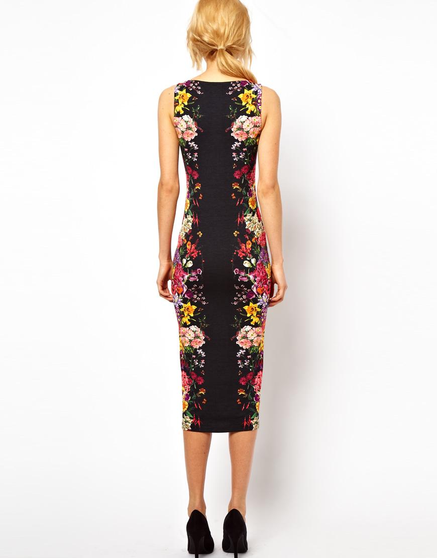 Lyst Asos Pencil Dress With Mirror Flower Print