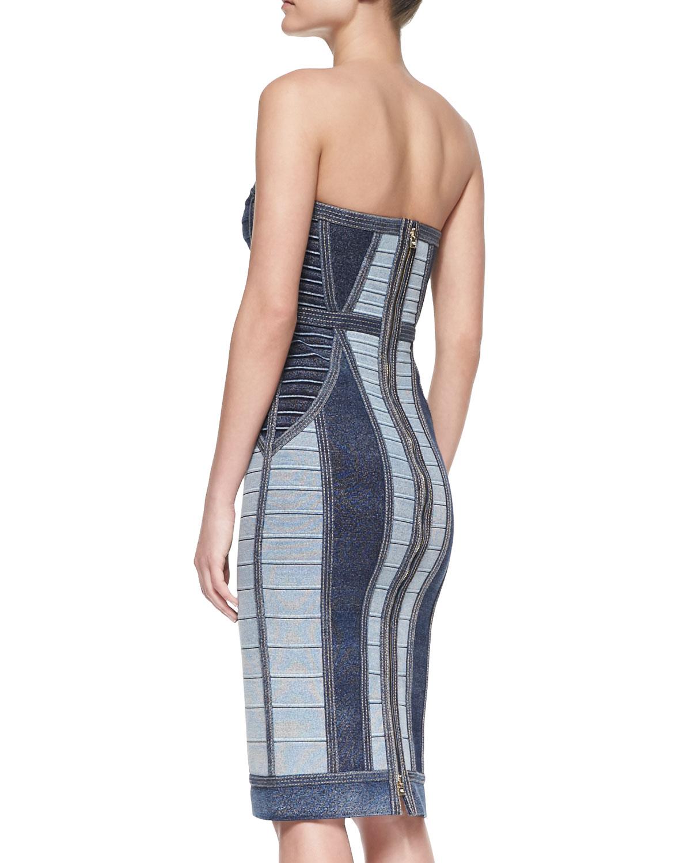 06c73a9e227 Lyst - Hervé Léger Gwyn Strapless Denim-Style Bandage Dress in Blue