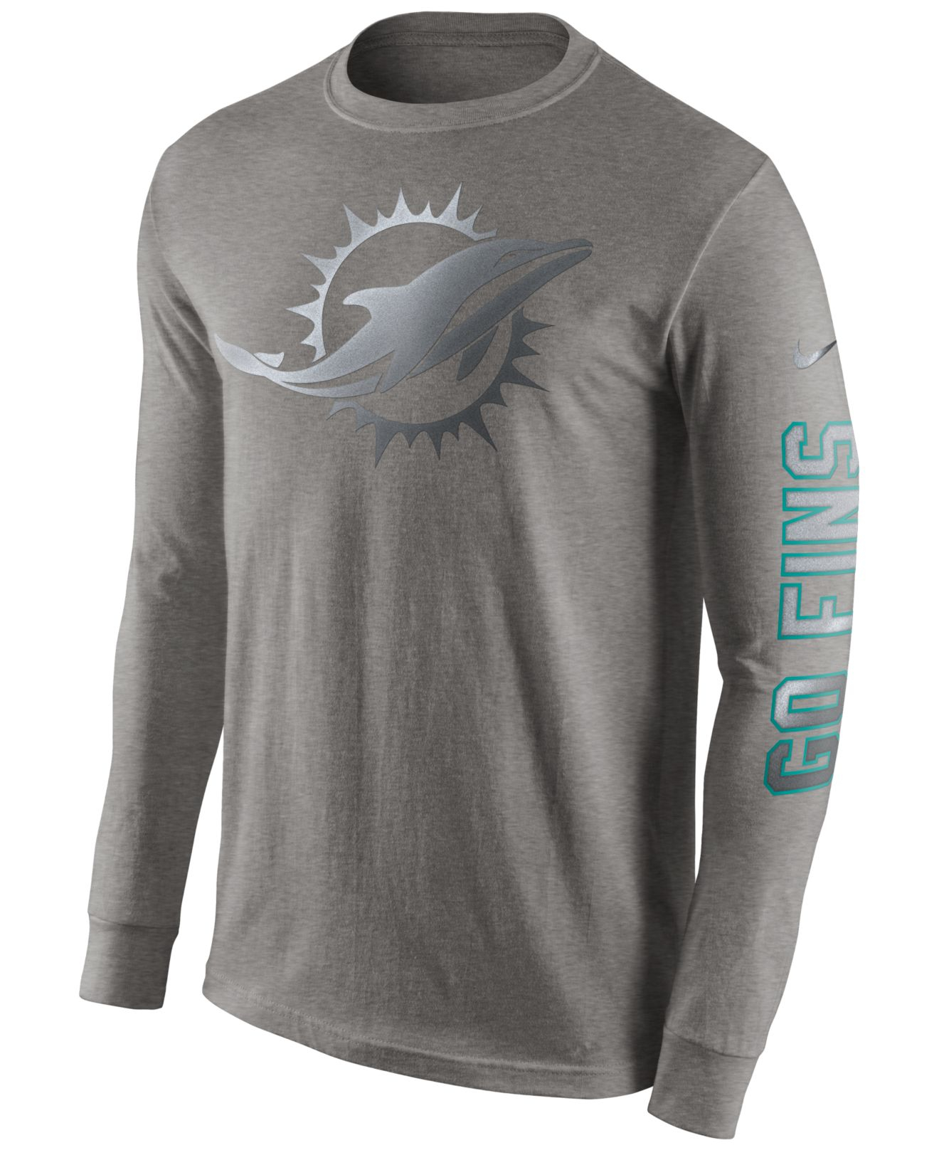 e465db7a Nike Gray Men's Long-sleeve Miami Dolphins Reflective T-shirt for men