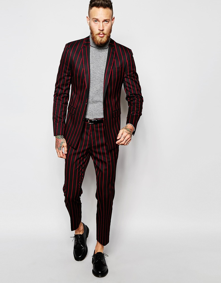 Asos Slim Cropped Suit Trousers In Pinstripe For Men Lyst