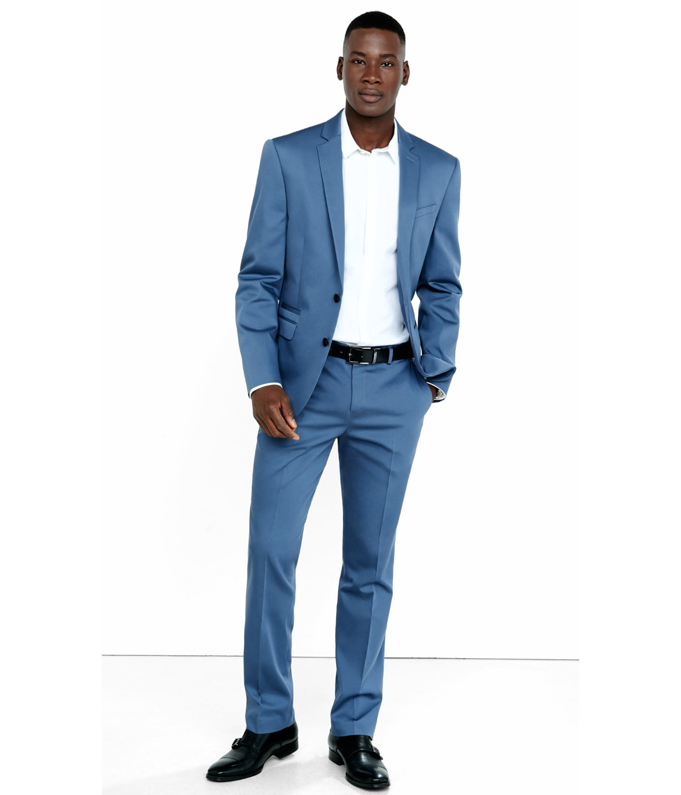 Express Slim Photographer Blue Cotton Sateen Suit Pant For Men Lyst