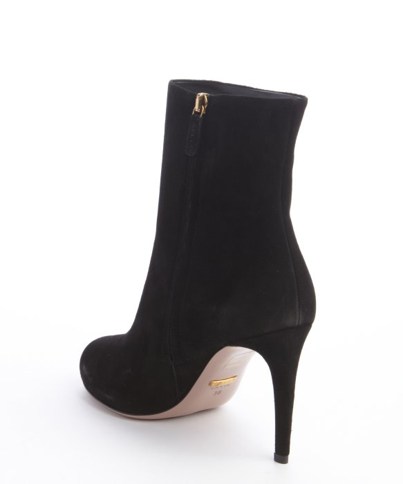 gucci black suede zipper ankle boots in black lyst