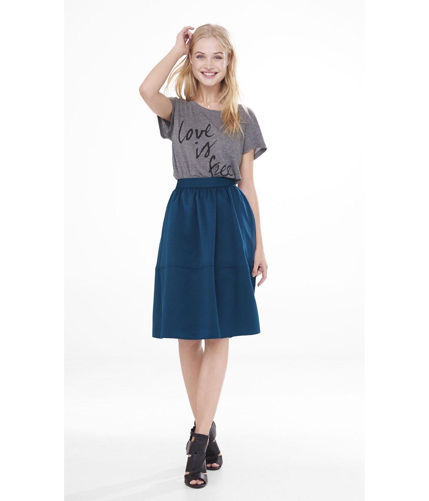 express teal high waist textured midi skirt in teal
