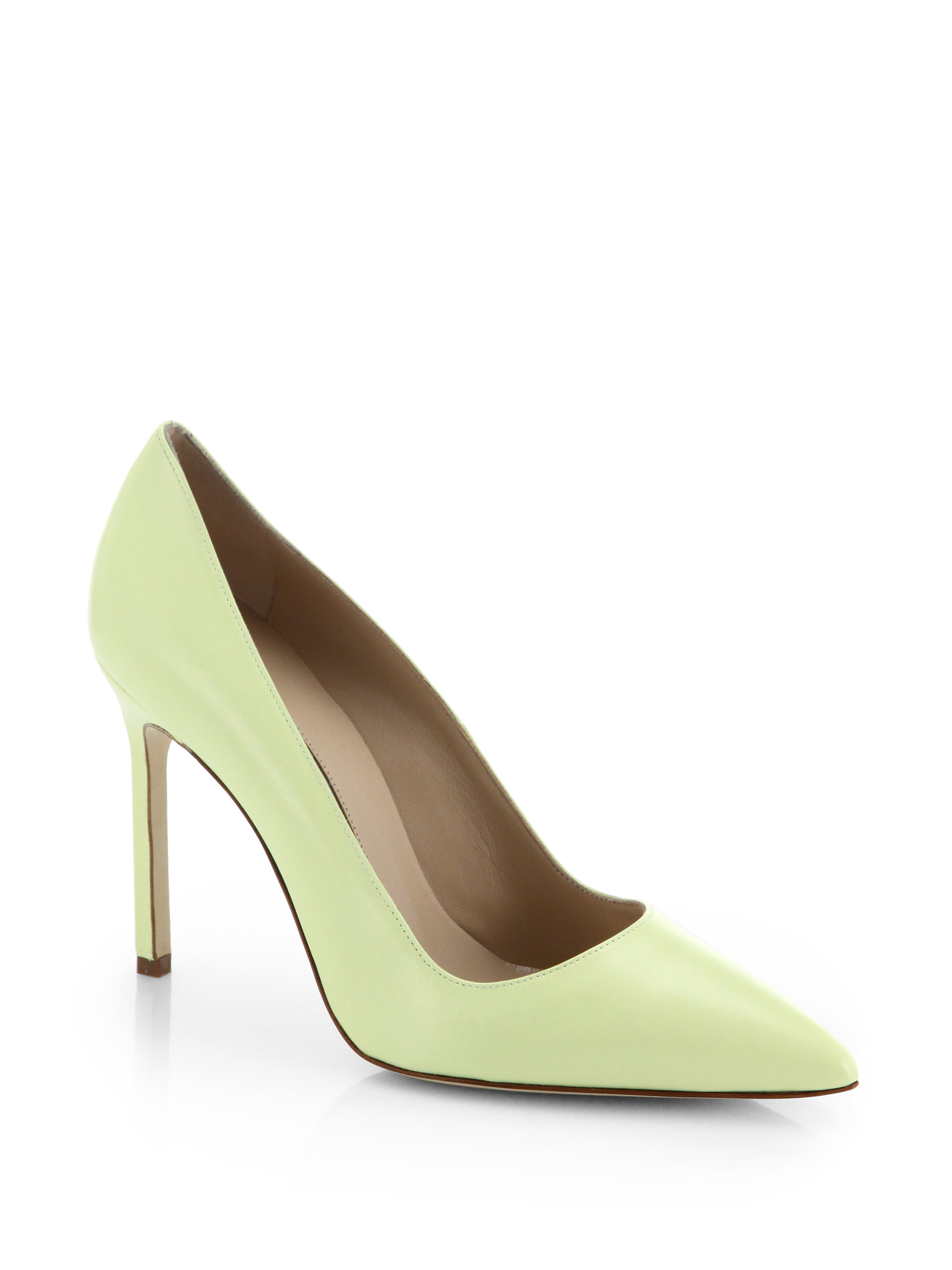 Manolo Blahnik Nappa Leather Point Toe Pumps In Yellow Lyst