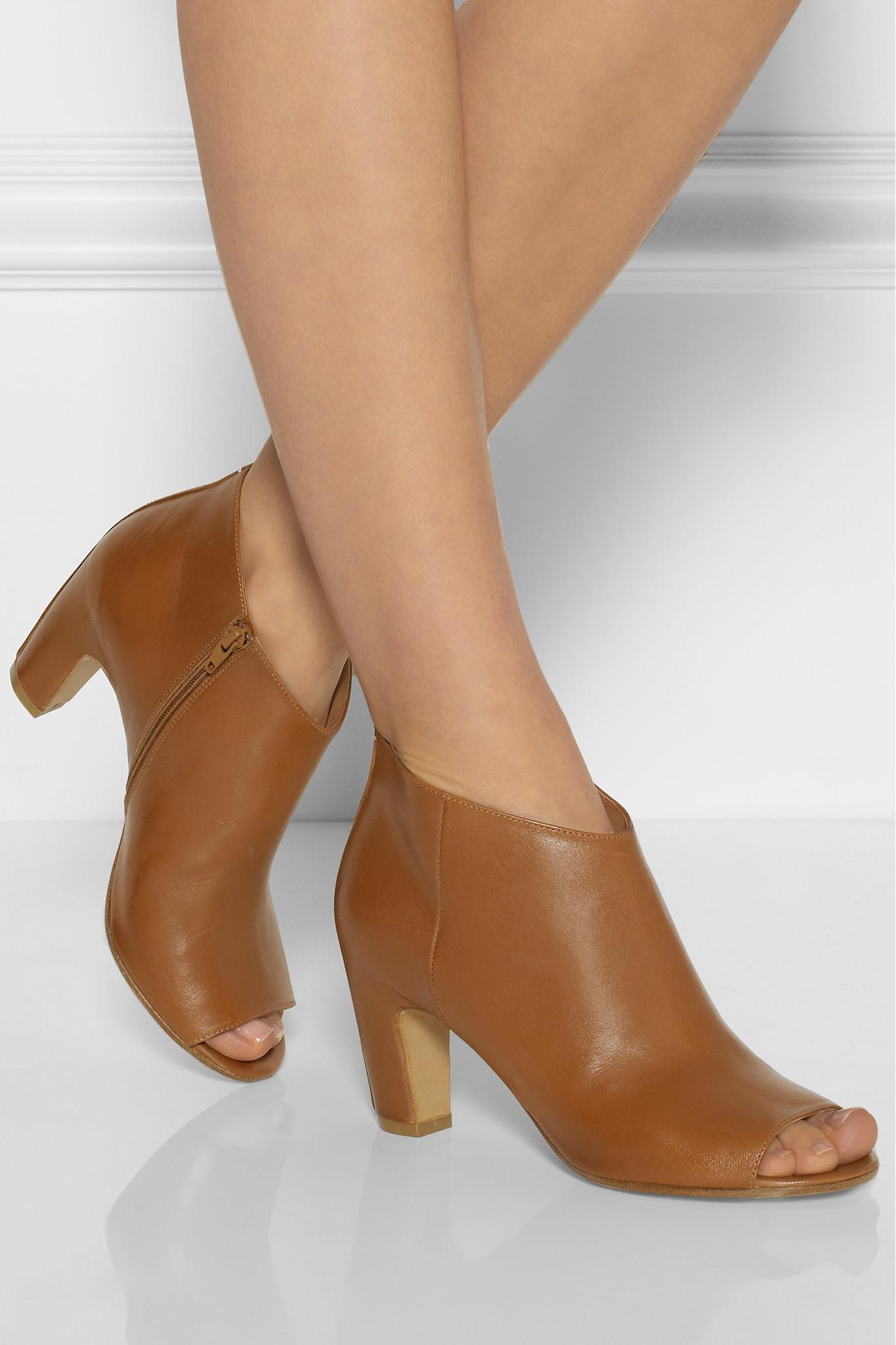 Maison Margiela Peeptoe Leather Booties c0O90uN3