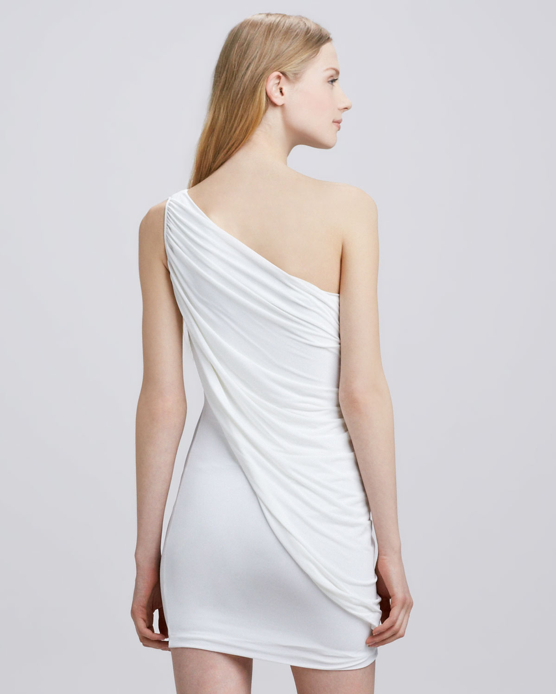 Bcbgmaxazria Stelah Draped Sheath Dress: Bcbgmaxazria Draped Oneshoulder Dress In White