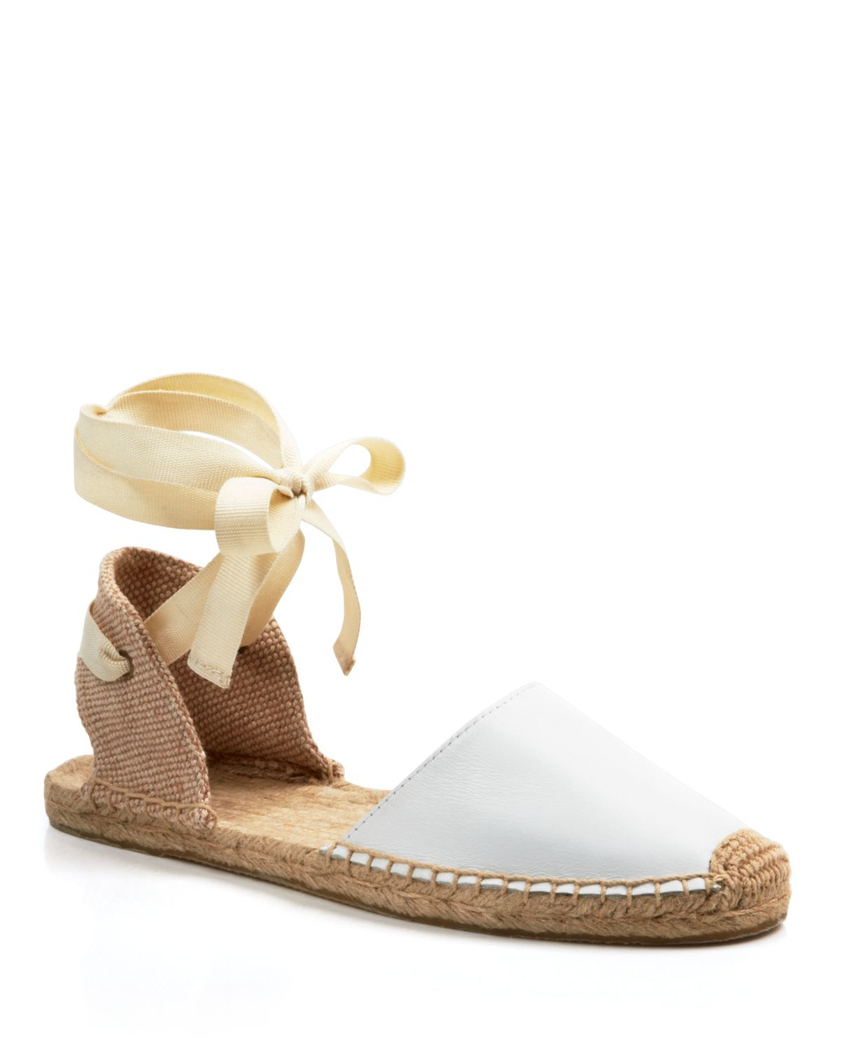 dc40a0b4ae71 Lyst - Soludos Espadrille Flat Sandals - Classic Ankle Wrap in White