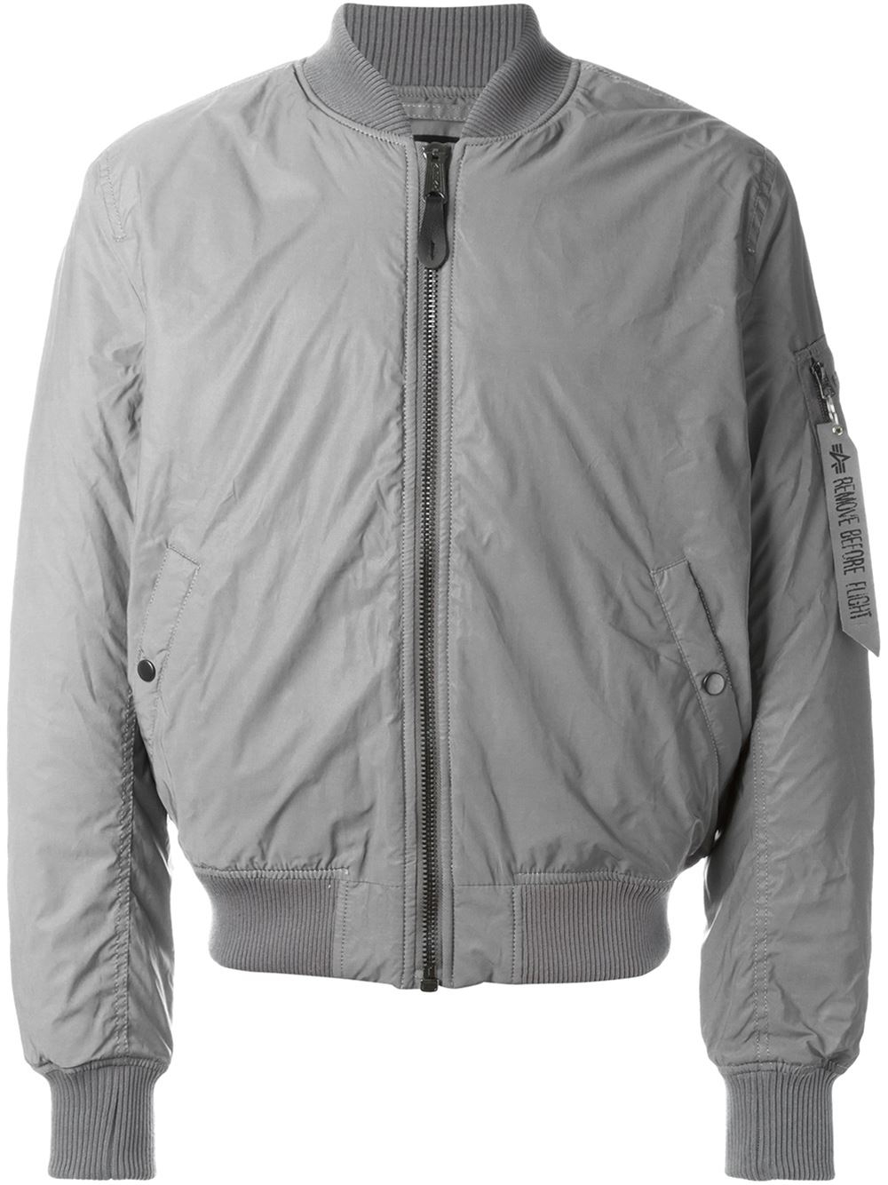 lyst alpha industries zipped bomber jacket in gray for men. Black Bedroom Furniture Sets. Home Design Ideas