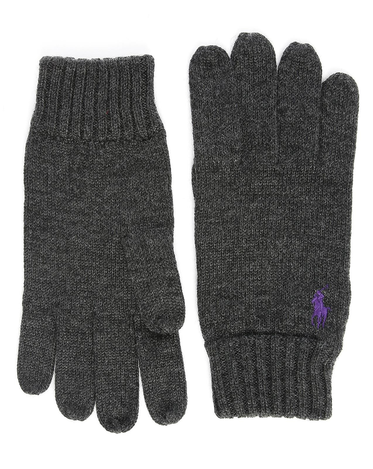 polo ralph lauren charcoal merino wool gloves in gray for men grey lyst. Black Bedroom Furniture Sets. Home Design Ideas