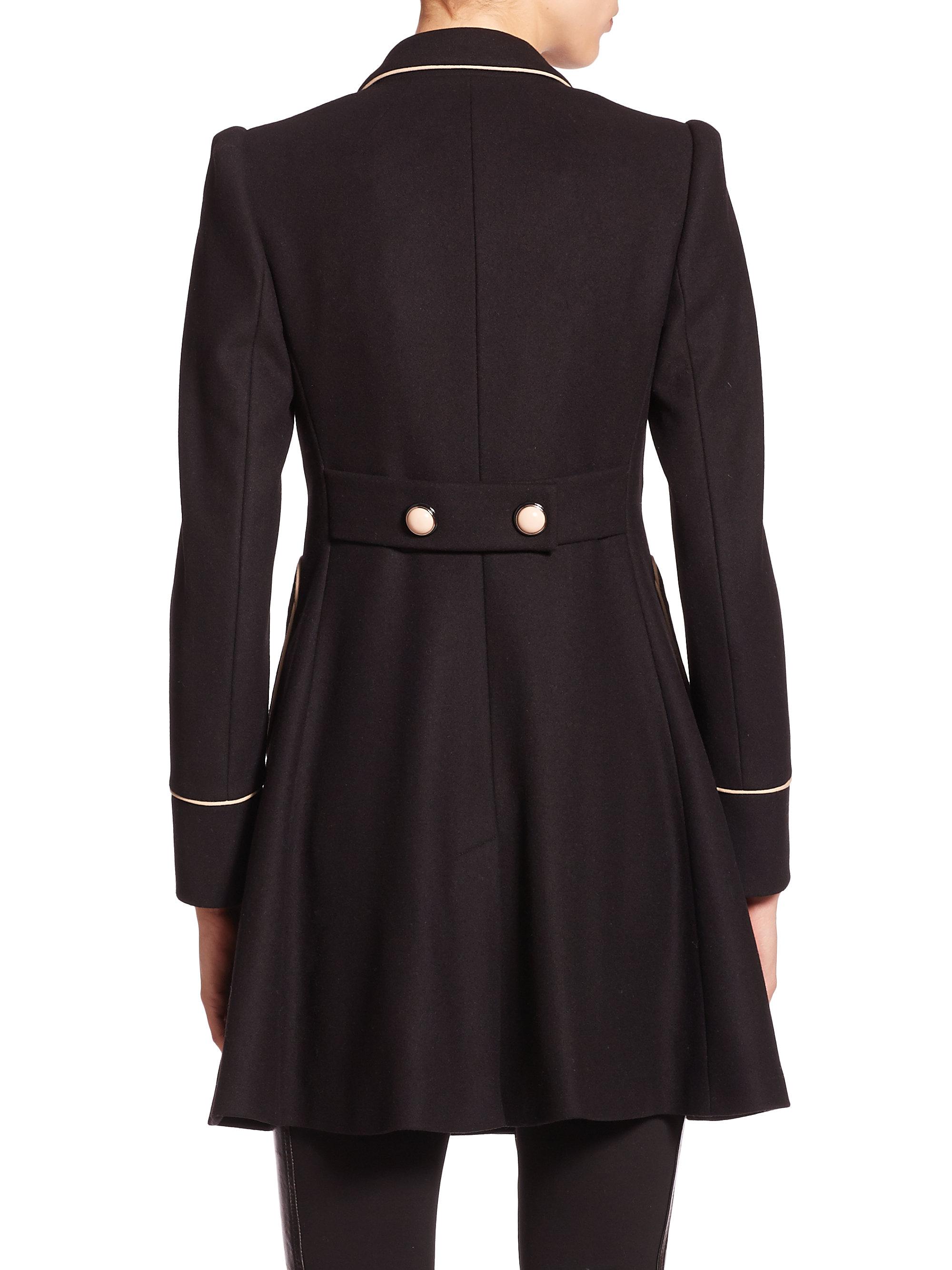 9f80c620de33 RED Valentino Black Contrast-trim Wool-blend Coat