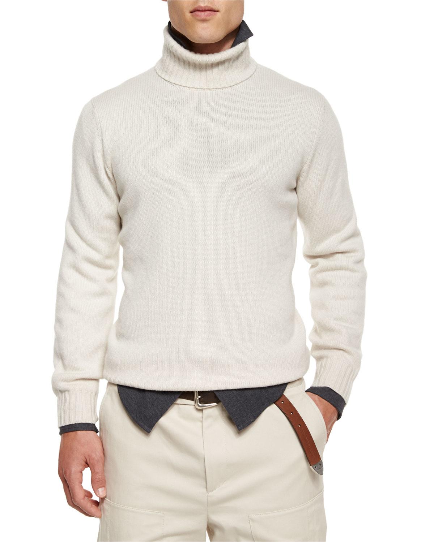 Lyst Brunello Cucinelli Cashmere Turtleneck Sweater In Natural For Men