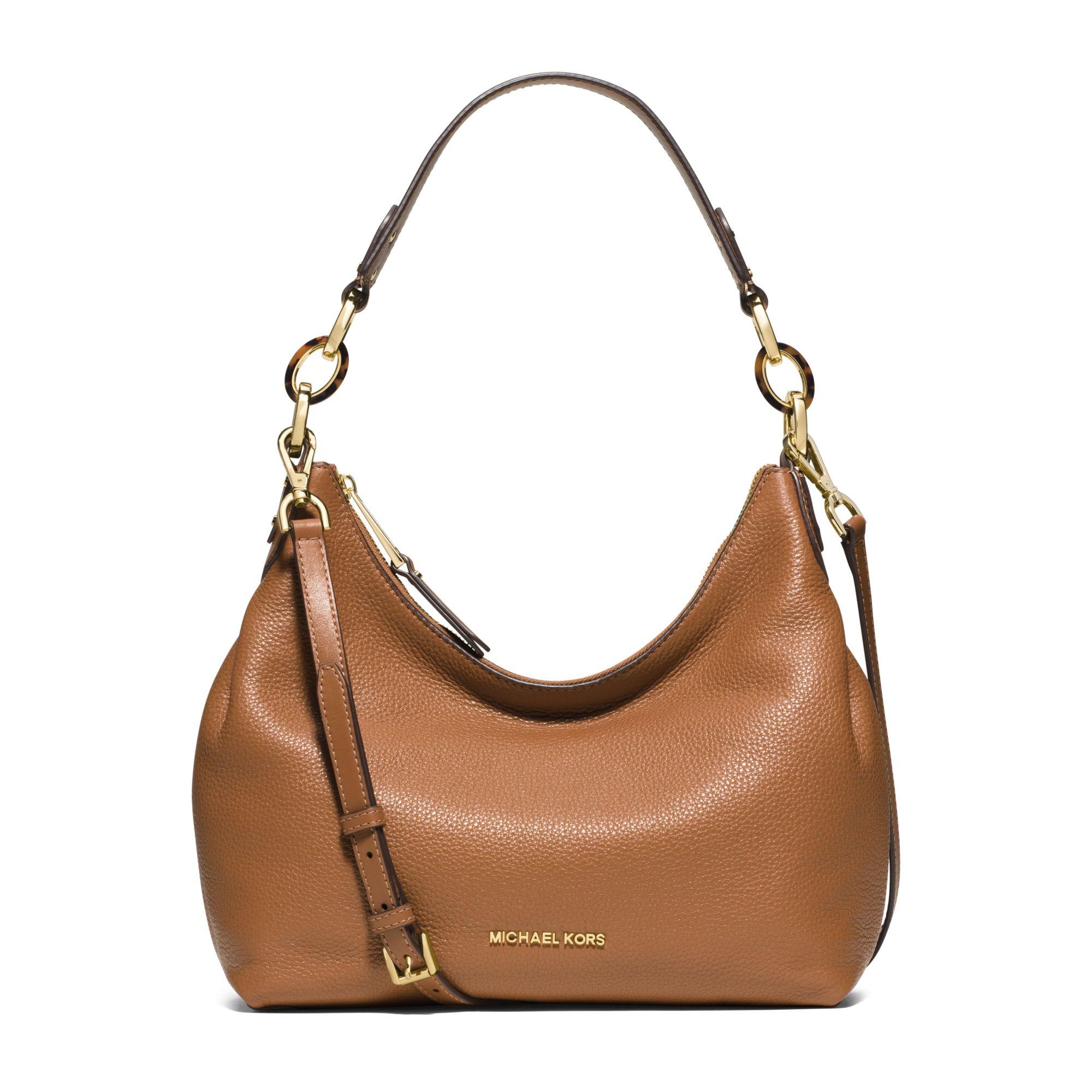 77939d968bef Lyst - Michael Kors Isabella Medium Leather Shoulder Bag in Brown