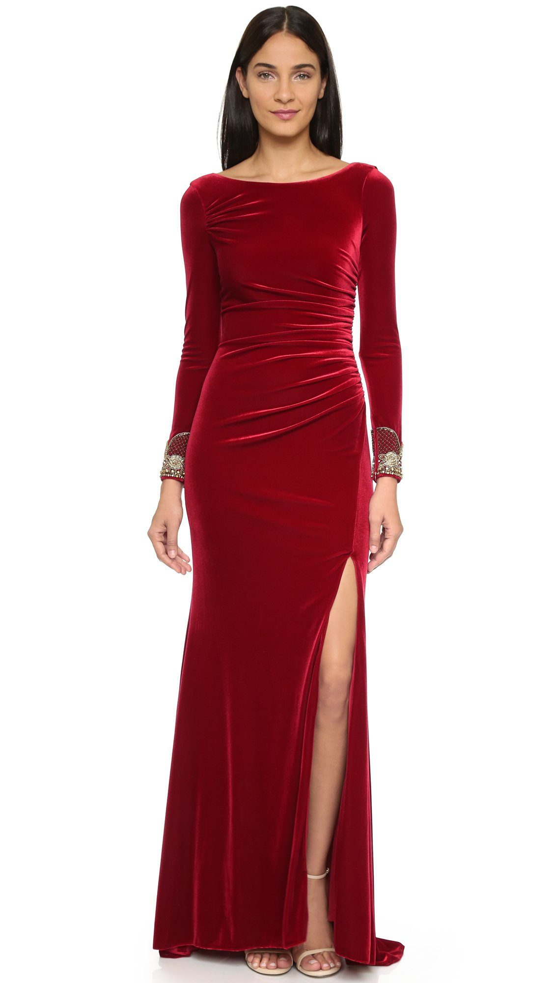 Badgley mischka Velvet Long Sleeve Dress - Crimson in Red - Lyst