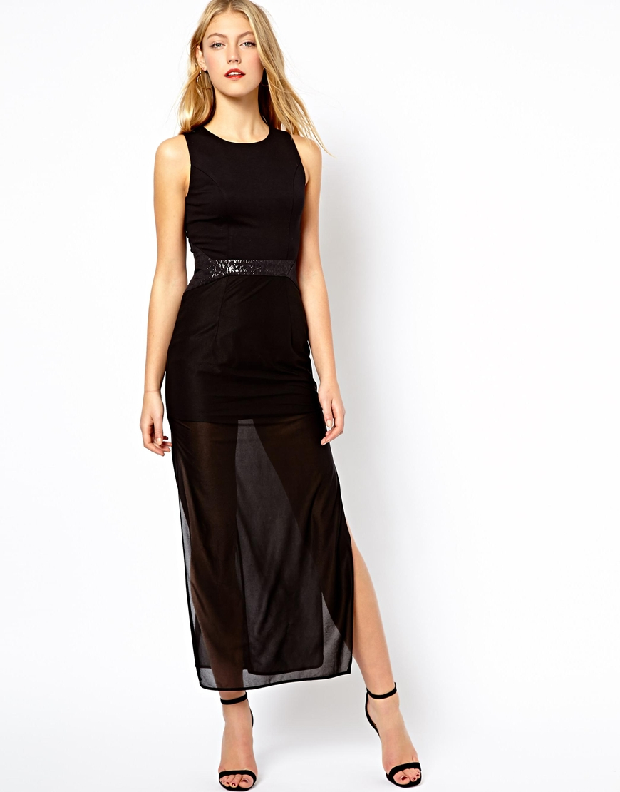 Oasis Maxi Dress With Open Back Detail in Black   Lyst