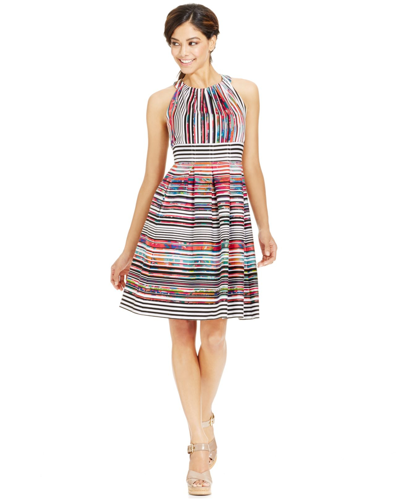 Lyst Nine West Striped Pleated Cotton Dress