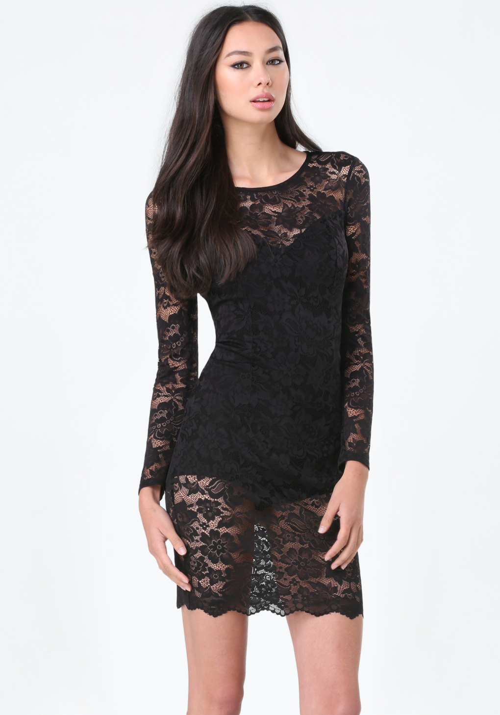 Lyst - Bebe Lace Lingerie Dress in Black