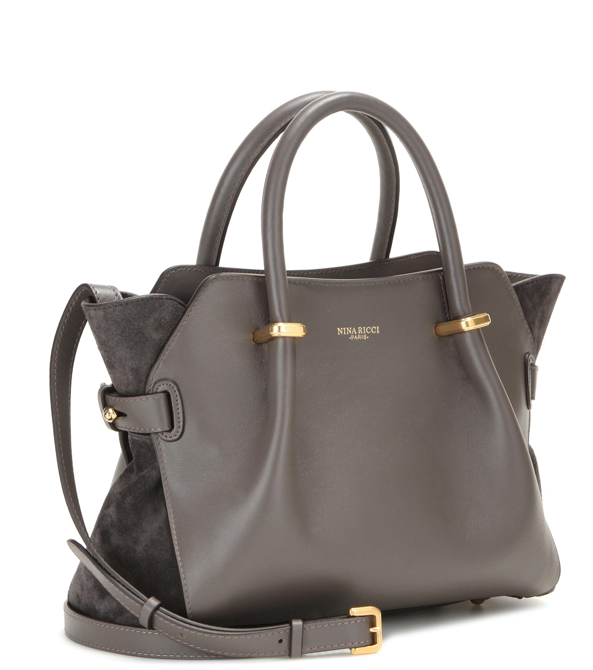 Nina ricci Marché Mini Leather Tote in Gray