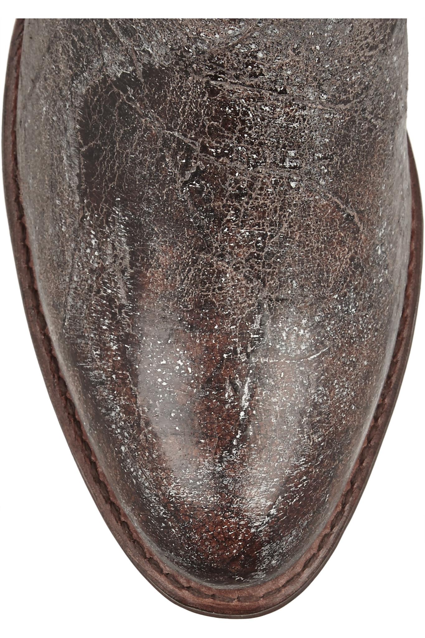 Frye Deborah Distressed Leather Boots in Dark Brown (Brown)