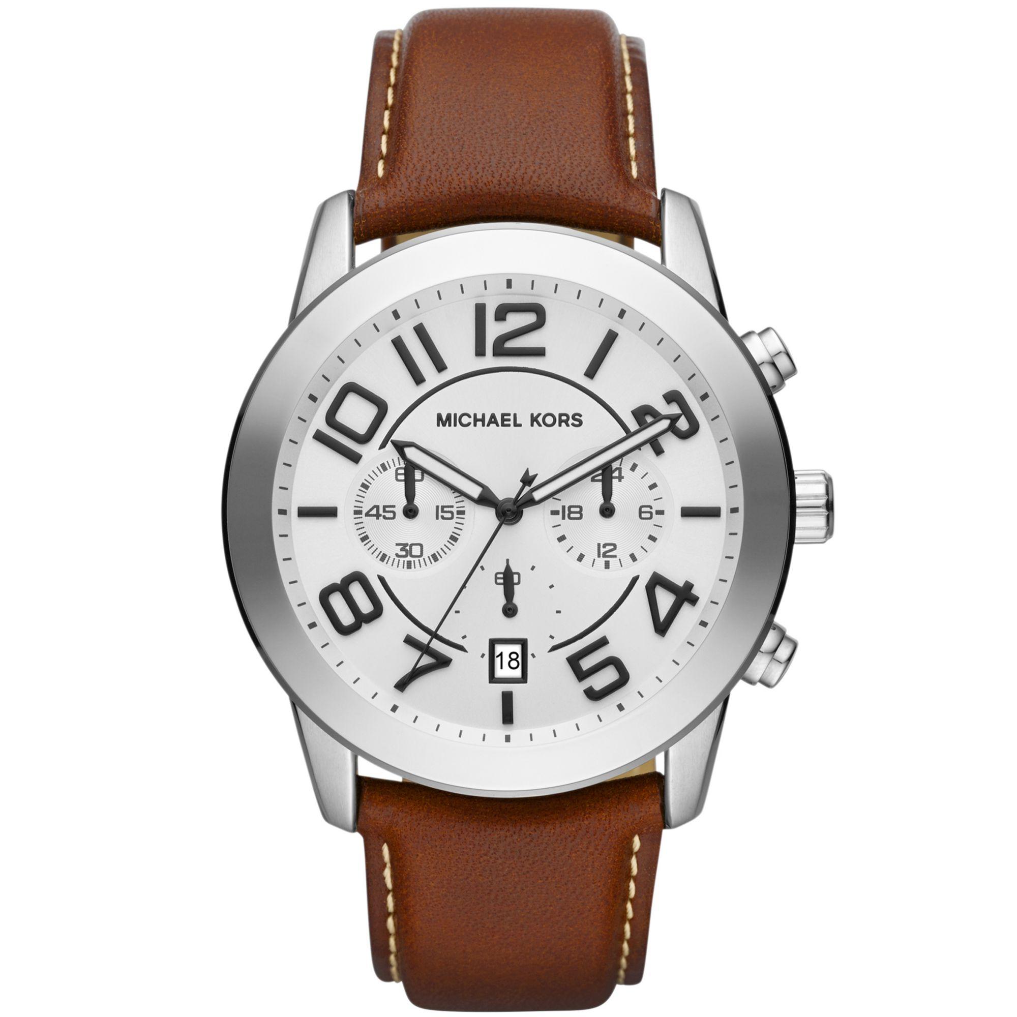ffe952b7e Lyst - Michael Kors Mens Chronograph Mercer Chocolate Leather Strap ...