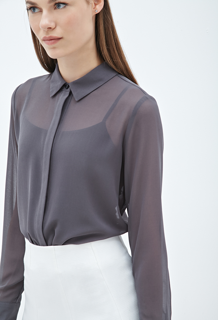 89572fc81a99af Lyst - Forever 21 Collared Chiffon Blouse in Gray