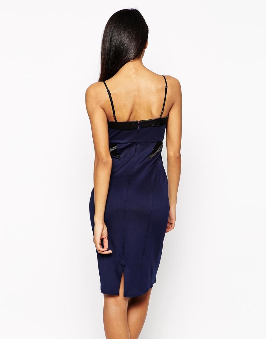 Lipsy Michelle Keegan Loves Satin Panel Dress In Blue Lyst