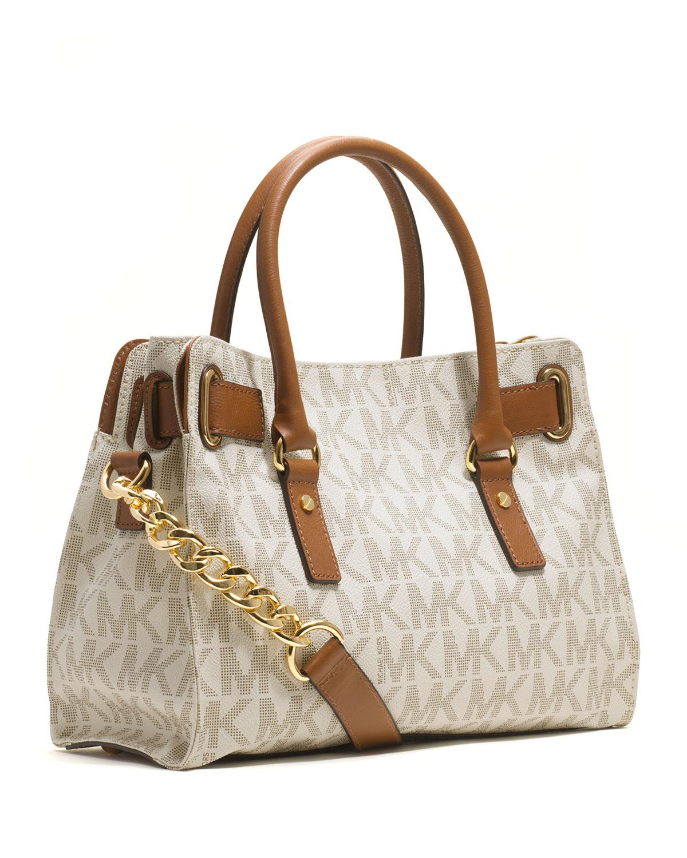 355b6a5b8de8 Lyst - MICHAEL Michael Kors Hamilton Logo Satchel Bag in Brown