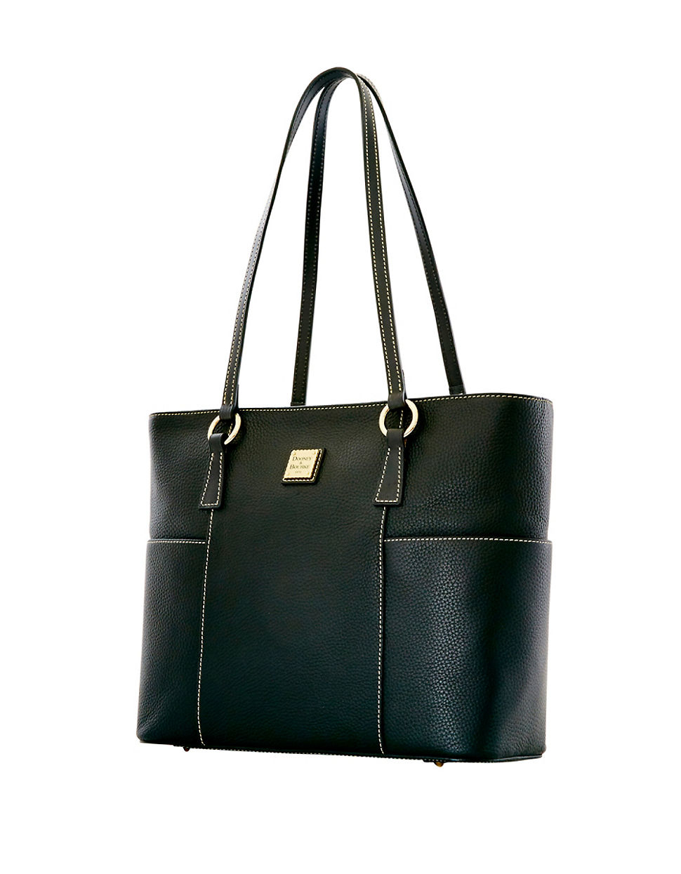 Dooney & bourke Pebbled Leather Shopper Bag in Black | Lyst