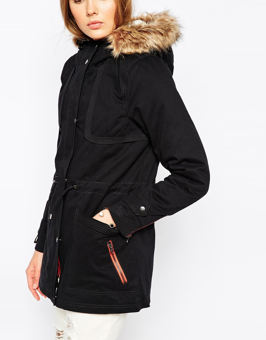 Vero moda Icon Parka With Drawstring Waist in Black | Lyst