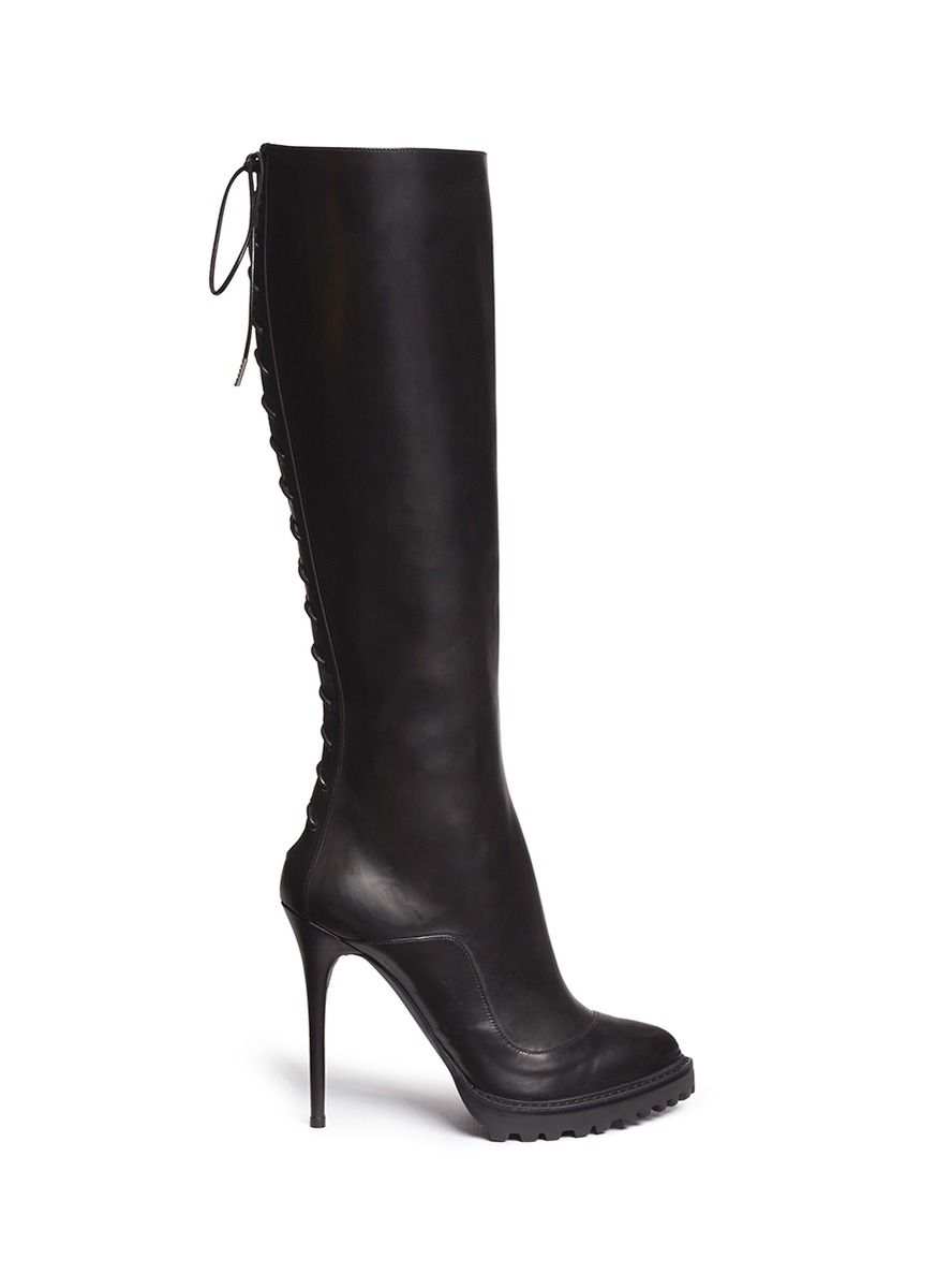 Alexander mcqueen rikk lace up back leather boots in black lyst