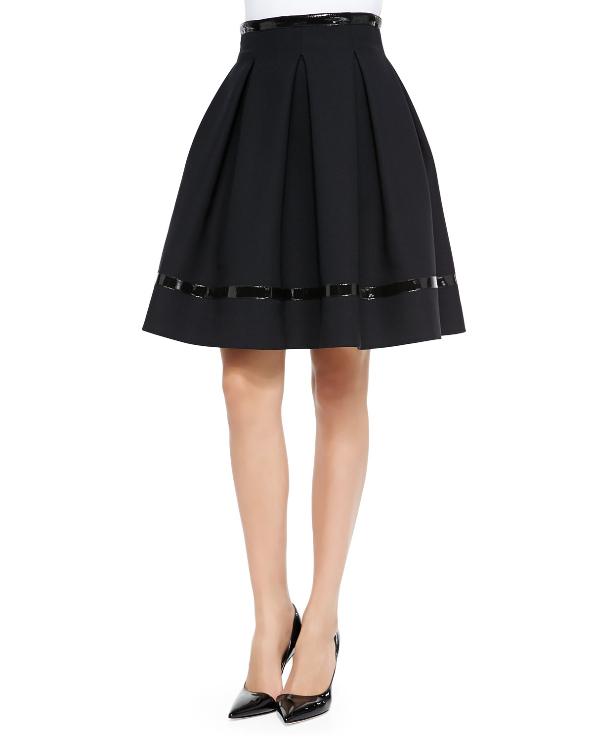 tamara mellon patent leather trimmed flared skirt in black