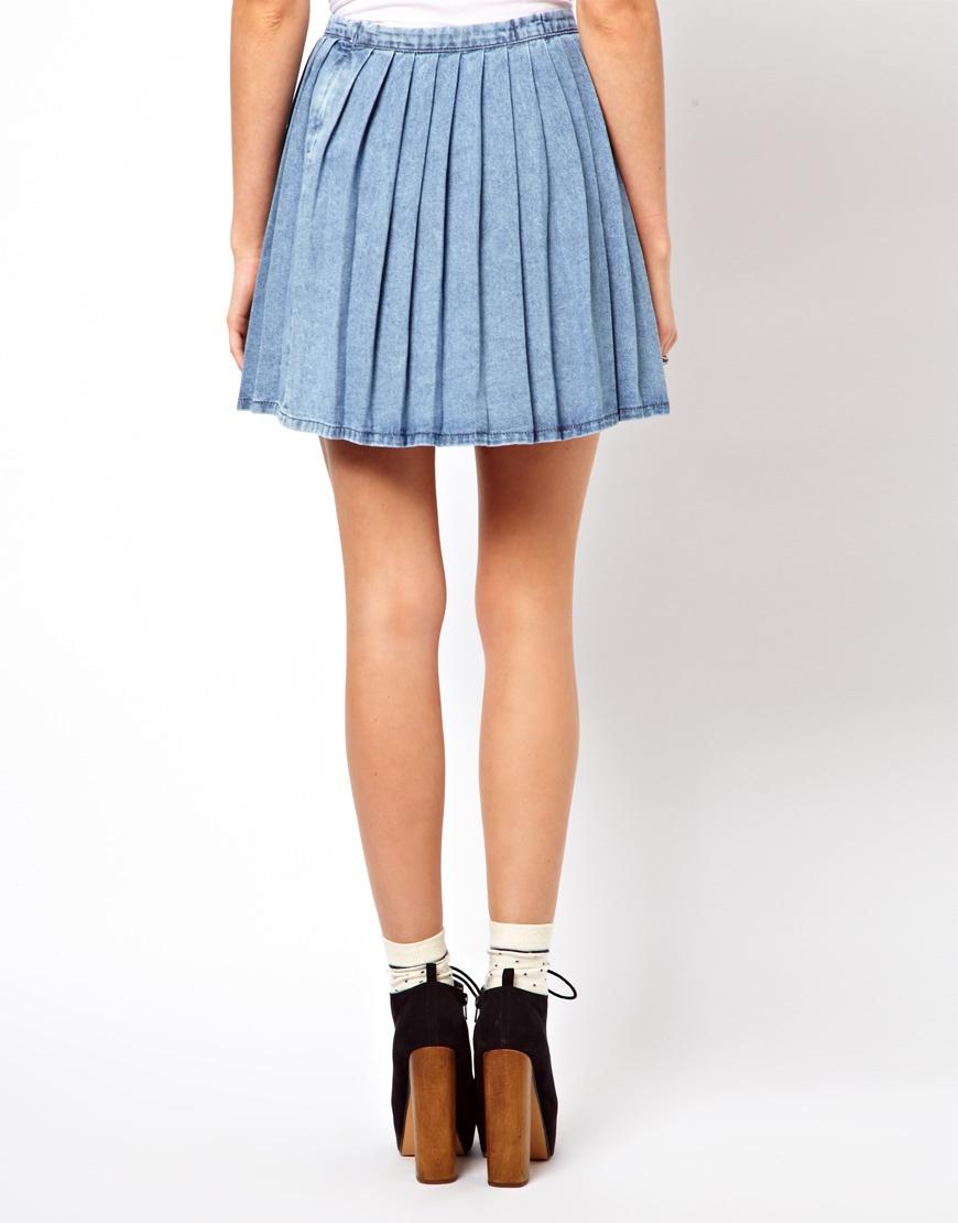 Asos Pleated Denim Mini Skirt in Blue | Lyst