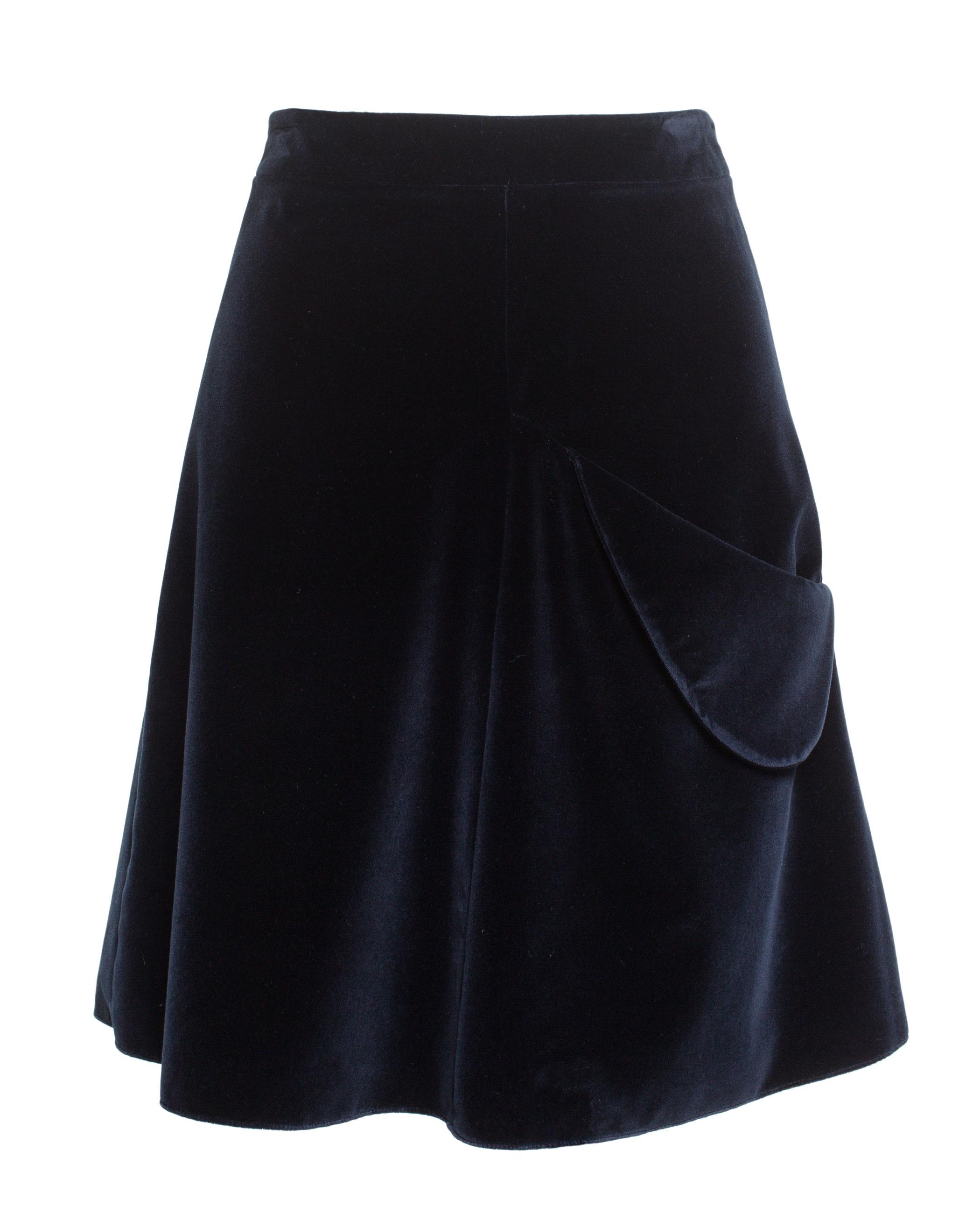 j w a lined velvet skirt in blue lyst