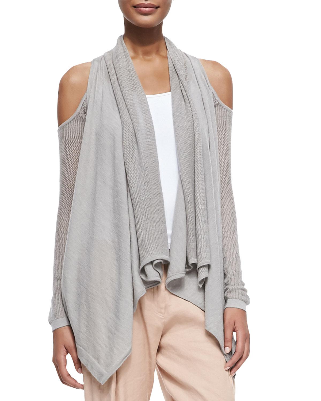 donna karan cashmere cold shoulder cardigan in gray lyst. Black Bedroom Furniture Sets. Home Design Ideas