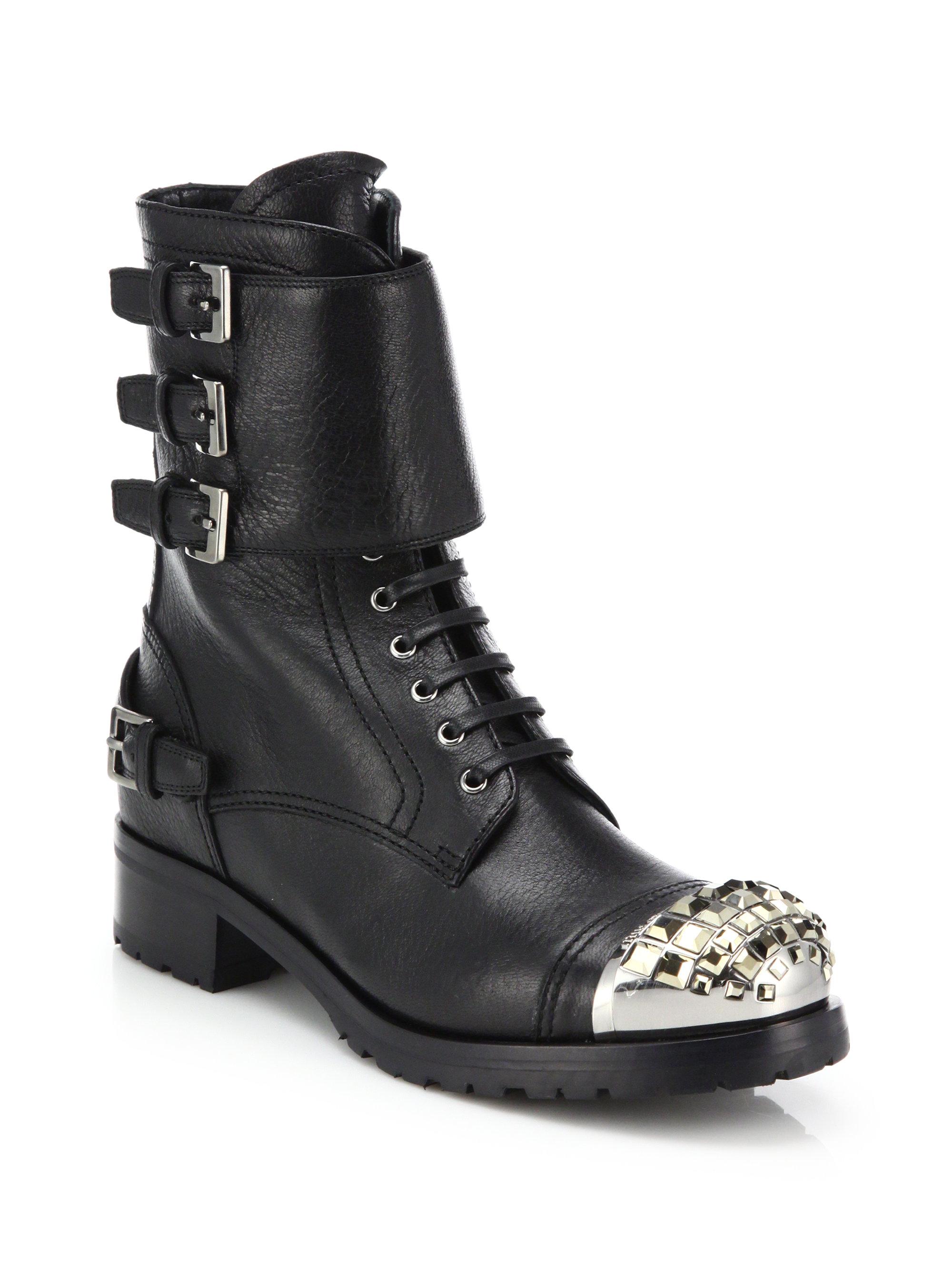 Miu Miu Leather Jewel Toe Combat Boots In Black Lyst