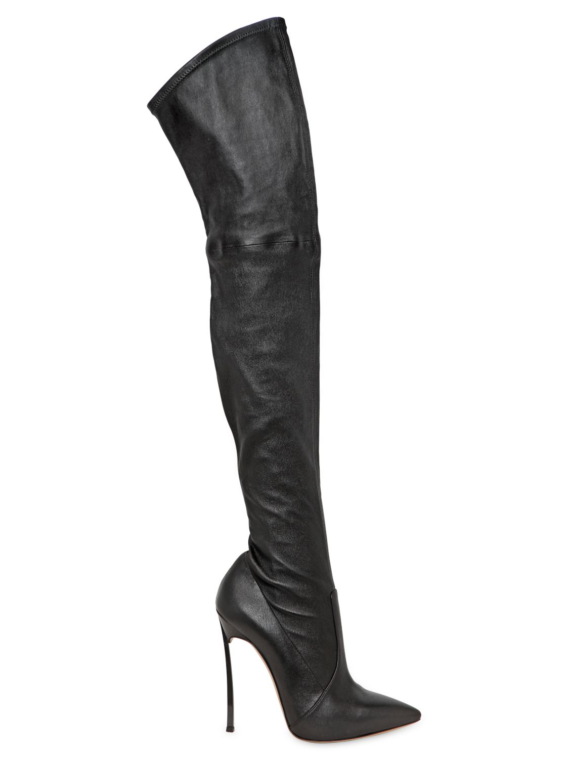 casadei 120mm the knee leather boots in black lyst