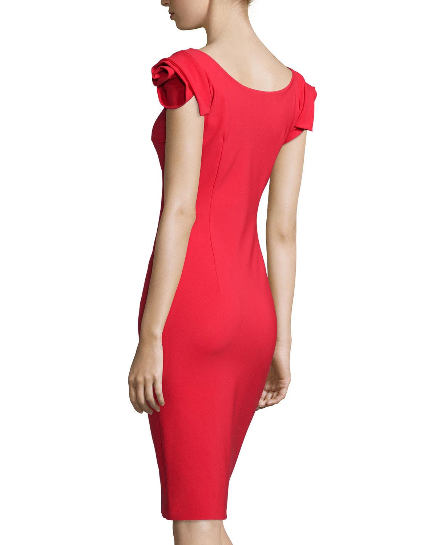 8b82edaaf36884 La Petite Robe Di Chiara Boni Donna Rosette-sleeve Sheath Dress in ...