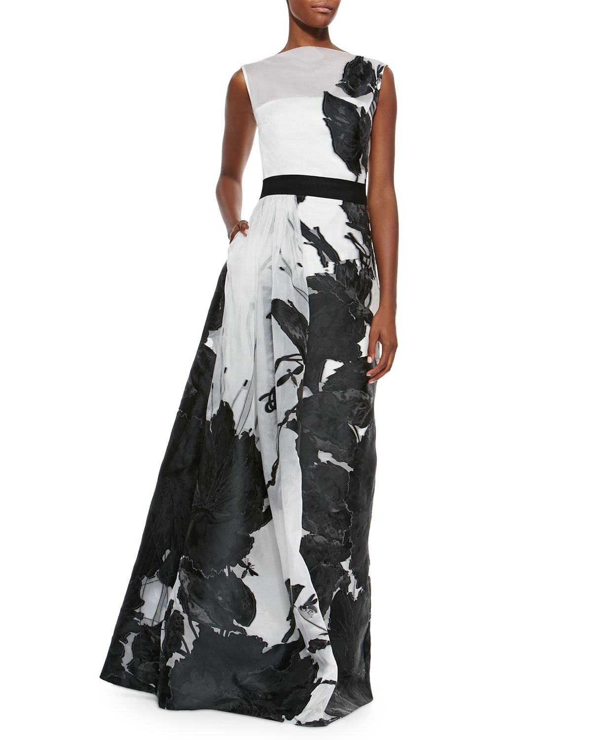 Lyst - St. John Dramatic Floral Fil Coupe Gown in Black