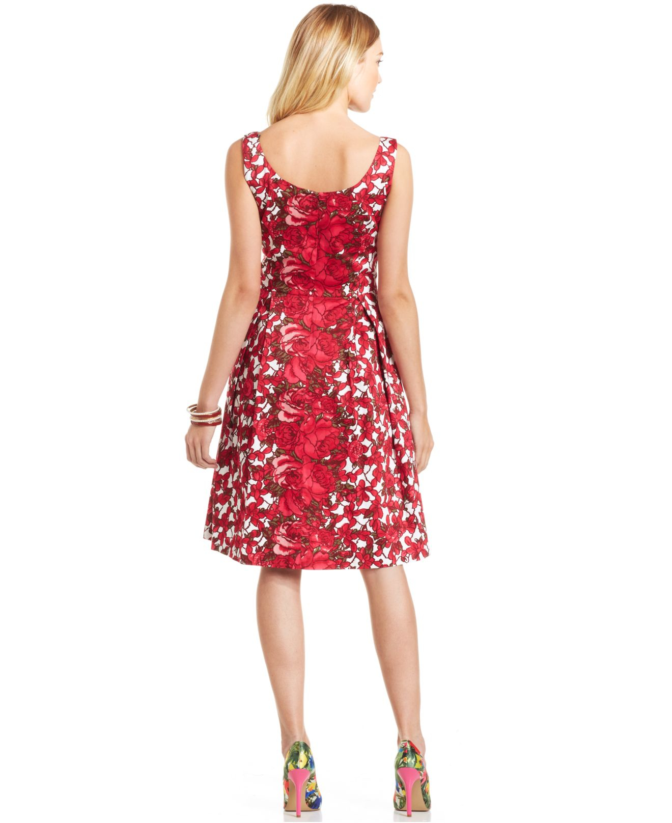 Lyst Maggy London Cotton Blend Floral Dress In Pink