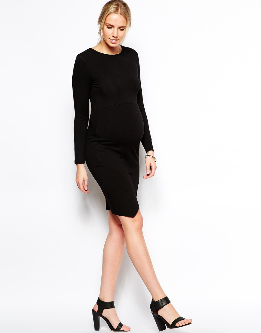 Lyst Asos Bodycon Dress With Wrap Skirt Long Sleeve In Black