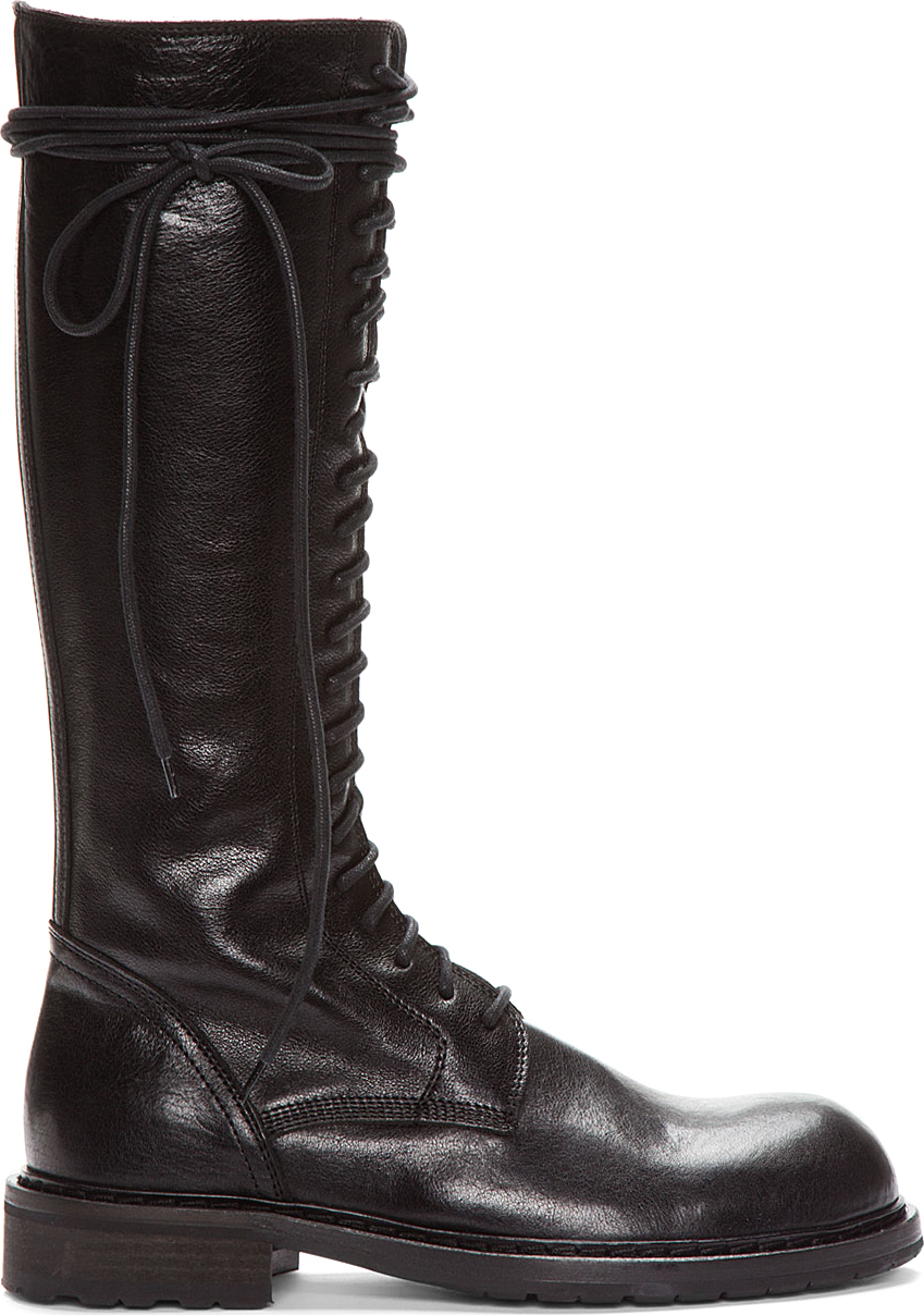 Ann Demeulemeester Tall Black Leather Lace Up Boots In