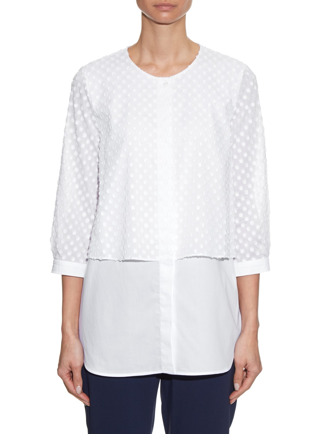 weekend by maxmara flavia shirt in white lyst. Black Bedroom Furniture Sets. Home Design Ideas