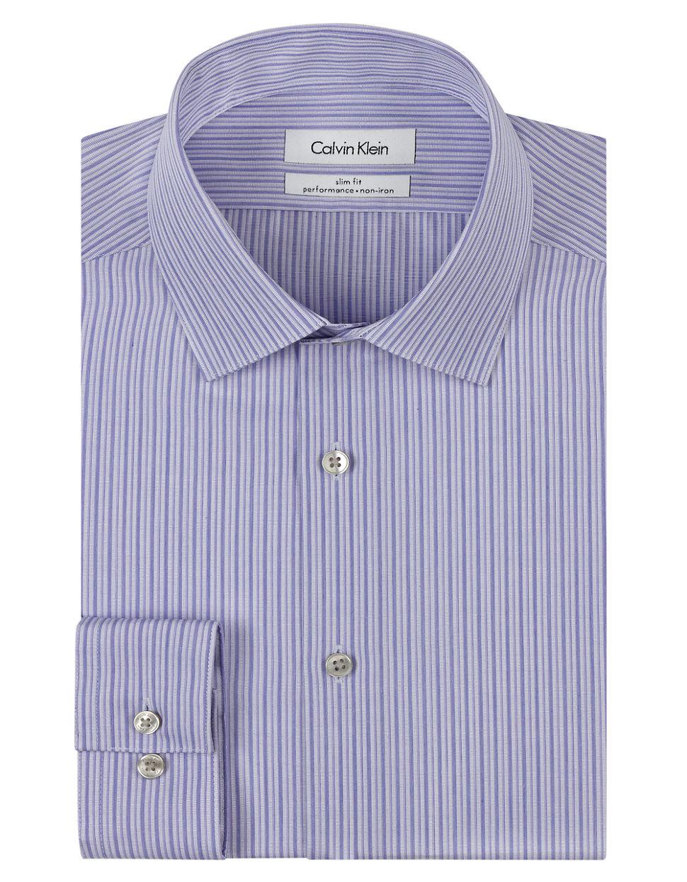 Calvin klein slim fit stripe non iron dress shirt in for Non iron slim fit dress shirts