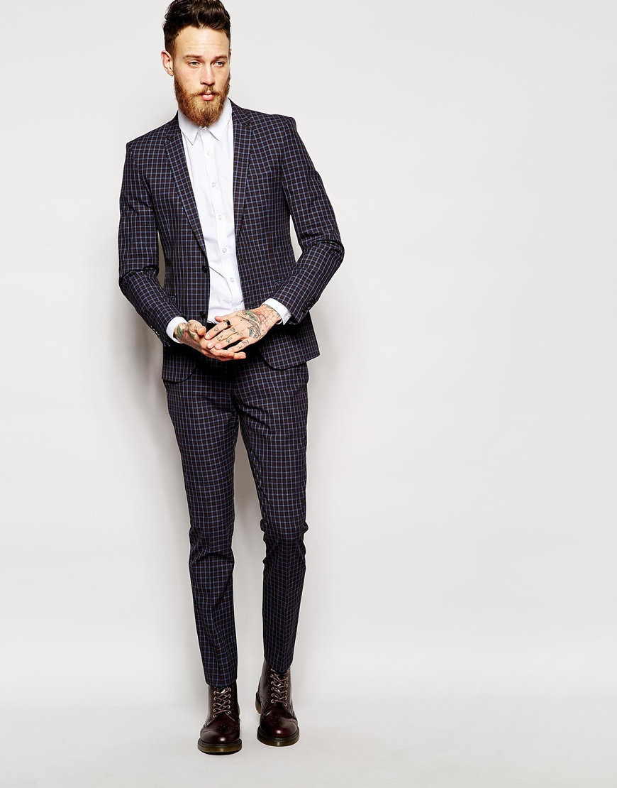 Selected Selected Mini Tartan Suit Trousers In Skinny Fit in Blue ...