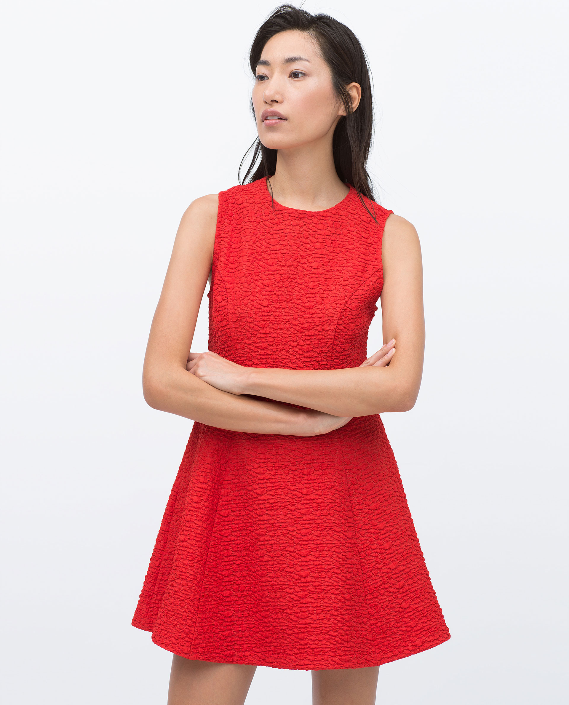Zara Jacquard Dress With Pleats Jacquard Dress With Pleats in Red ...