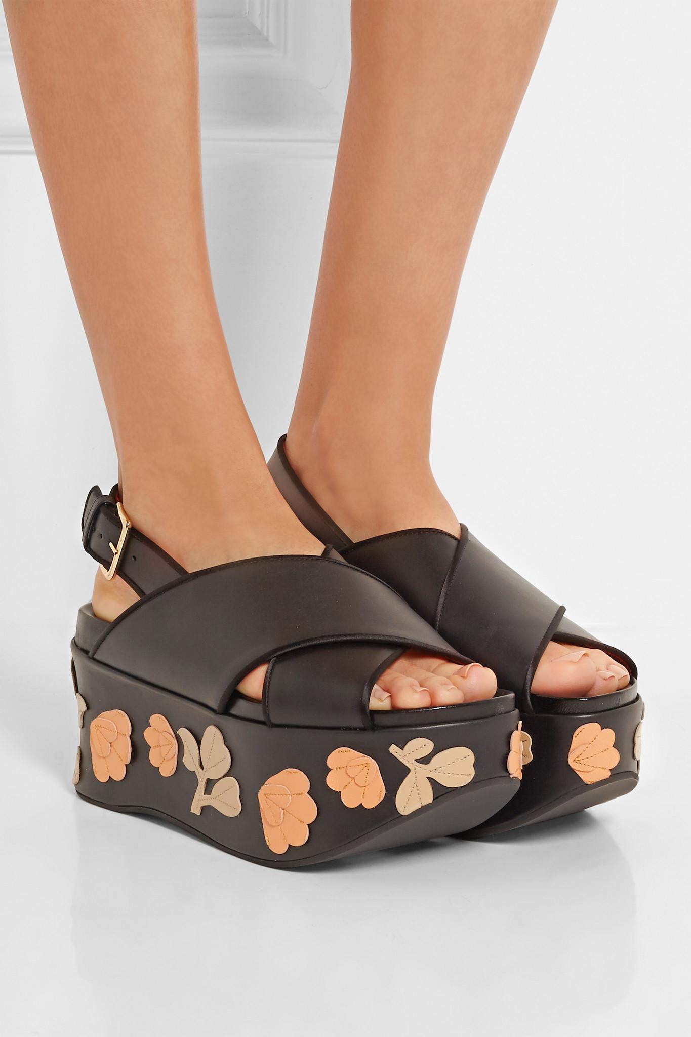 Marni Appliquéd Leather Sandals Outlet 5fPfuqhk7
