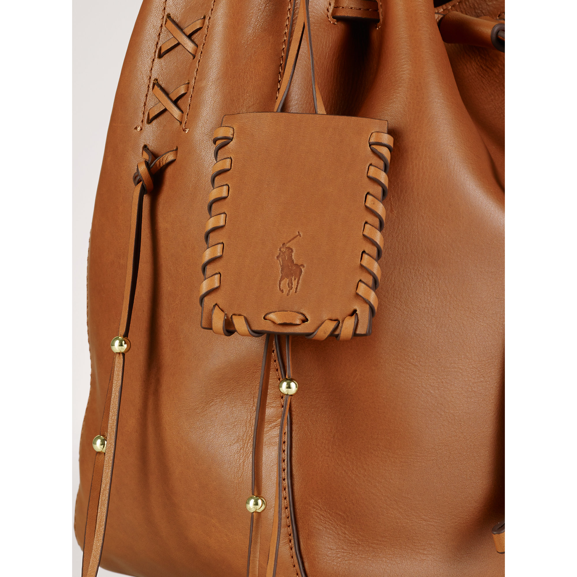 Polo Ralph Lauren | Brown Laced Leather Drawstring Bag | Lyst
