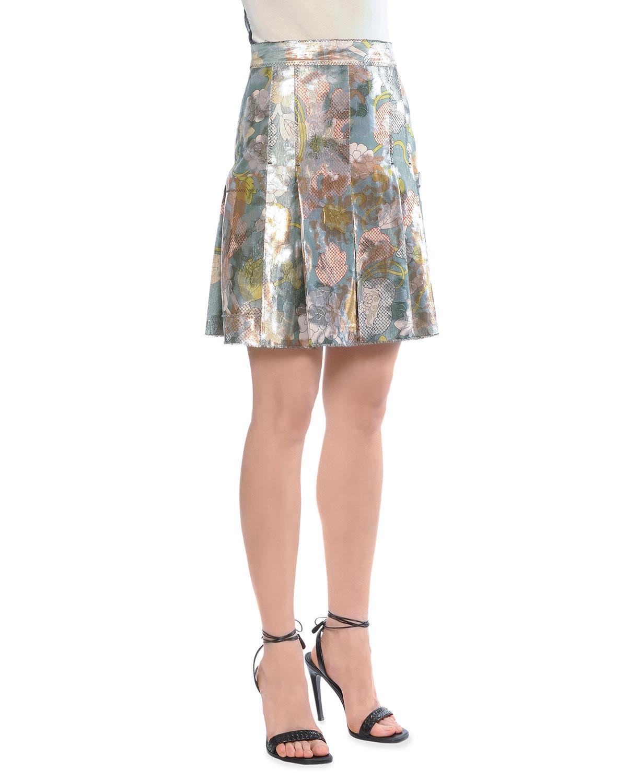 bottega veneta metallic tulip print pleated skirt in beige