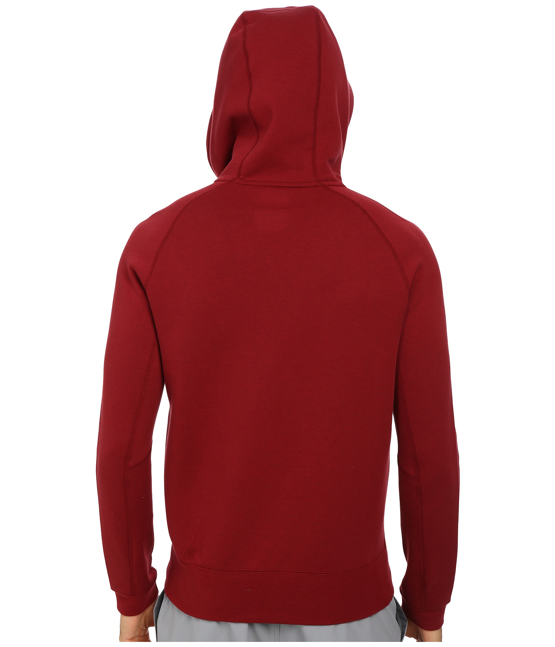 lyst nike hooded zip up cotton blend sweatshirt in red. Black Bedroom Furniture Sets. Home Design Ideas