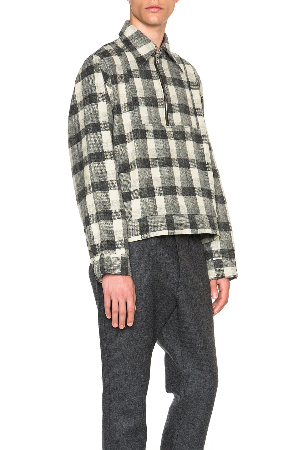 Gosha rubchinskiy flannel shirt with zipper in gray lyst for Zip front flannel shirt